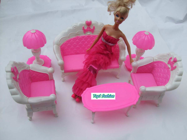 Free shipping girl birthday gift play toy sofa set accessories for barbie doll