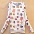 Женщины Плюс Размер Случайный Осень зима Корейской версии плюс бархат Симпатичные флаг Письма Печатаются вышивка Harajuku Кофты