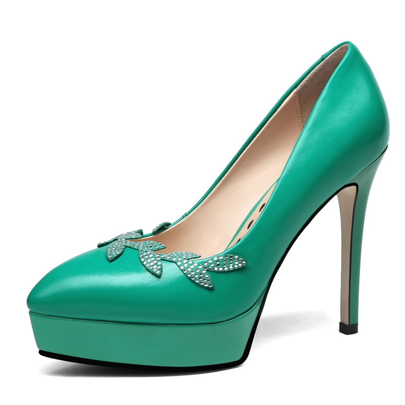Zapatos Mujeres white Del Las Tamaño Enmayer Ly407 Básica 34 Mujer Cuero Bolso 39 Nueva Talón De Puntiagudo Alto Bombas Casual Black Dedo Moda green Genuino Pie 2018 PFFURqw5