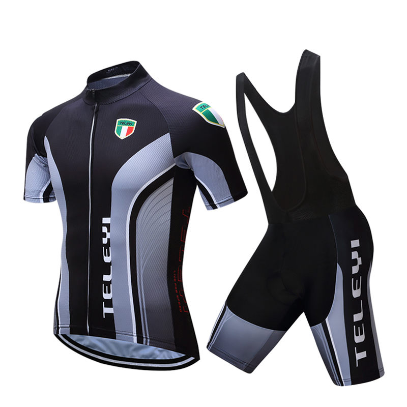 2017TELEYI Quick Dry Short Sleeve Cycling Clothing Breathable Bike Riding Wear Ropa Ciclismo Bicycle Jersey 9D Gel Pad Pants Bib