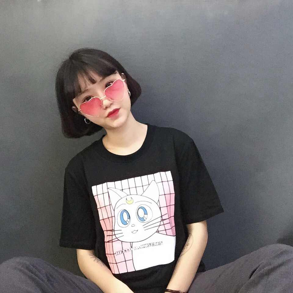 Nhật bản Harajuku Thời Trang Phong Cách Kawaii Phim Hoạt Hình Mèo In Nữ T-Shirt Ngắn Tay Áo Phụ Nữ Tops Giải Trí Mùa Hè Tốt Nhất Bạn Bè