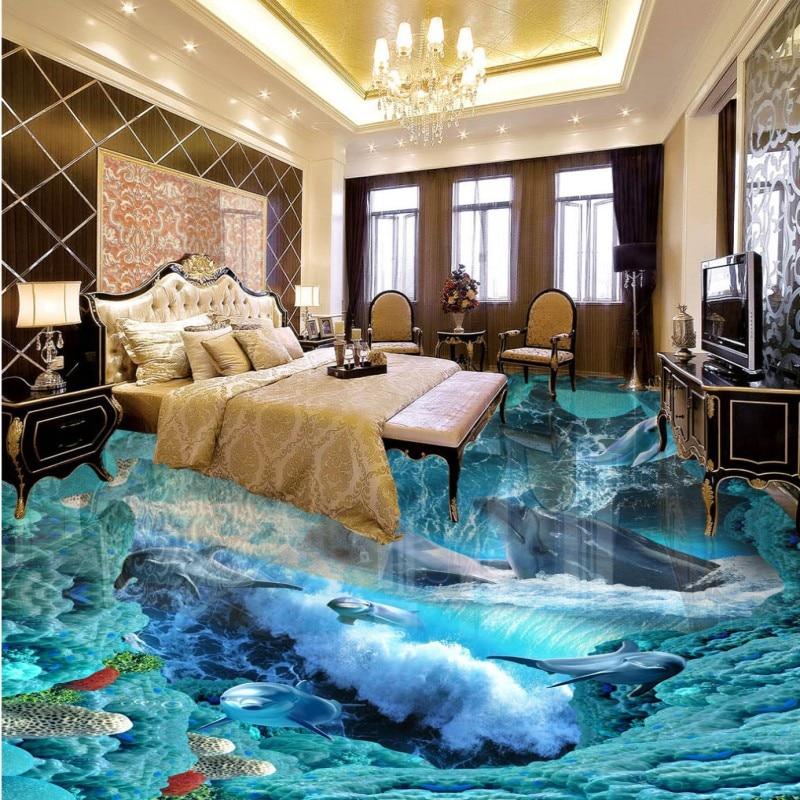 ФОТО Free shipping bathroom floor home decoration self-adhesive mural baby room wallpaper Underwater World Dolphin 3D Floor