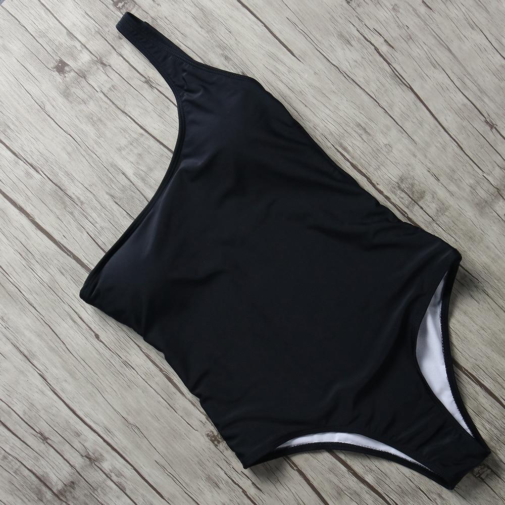 Buy 2018 Sexy Swimsuit Women One Piece Swimwear Solid One Shoulder Swim Suit Push Monokini Padded Bathing Suit Halter Bodysuits