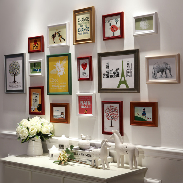 Top Quality 16 Pieces Set Wooden Photo Frame Hang Wall White Color Wood Picture