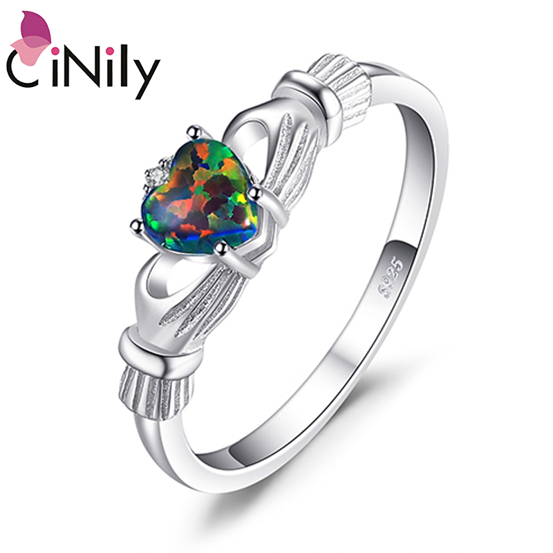 IRISH LOVE BLUE OPAL CLADDAGH RING All Sterling Silver.925  3 to 12