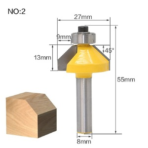 Image 3 - 1pc 8mm Shank Edge Chamfering Router Bit With Bearing Trimming 45 Degree Woodworking Milling Cutter Wood Cutting Tools
