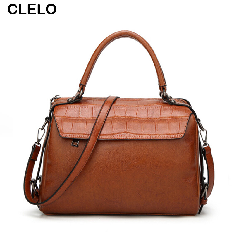 CLELO 2017 Designer Handbags High Quality Women Vintage Fashion Rivet Pu Leather Handbag Female Shoulder Bags Ladies Large Tote
