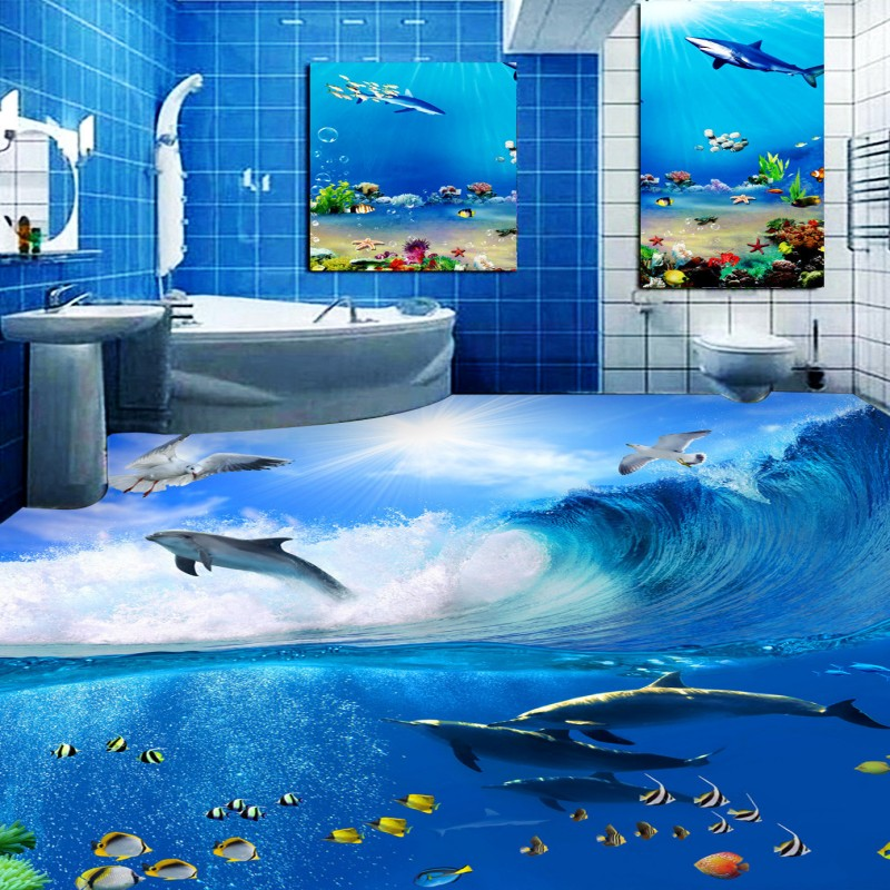 Free Shipping Sea Dolphin Sea World Bedroom 3D Floor thickened non-slip bathroom living room kitchen study flooring mural free shipping floating suspension mountain dolphin 3d outdoor floor painting wear non slip bedroom bathroom flooring mural