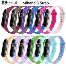 BOORUI newest mi band 3 strap pulsera miband 3 strap silicone fashional wrist strap replacement for xiaomi mi 3 smart bracelets