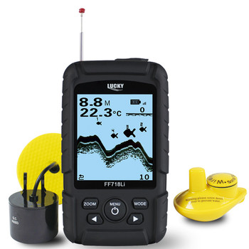 LUCKY 328ft /100m depth Fishfinder Sonar Transducer 2-in-1 Wired & Wireless Sensor Portable Waterproof Fish Finder FF718Li