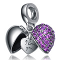 Top Quality s925 Sterling Silver Open Heart Blue Zirconia Charms Fine Jewelry Pendants Necklace Women Crystal Jewellery Bohemia
