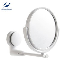 NarwalDate Mordern Drill-free Bathroom Mirror Makeup Vanity Shave Mirrors Wall Suction Folding Arm Extend Round Bath Accessories