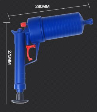 Gun type Pipe dredge toilet plunger 4 different plugs suction as household tools kitchen floor drain