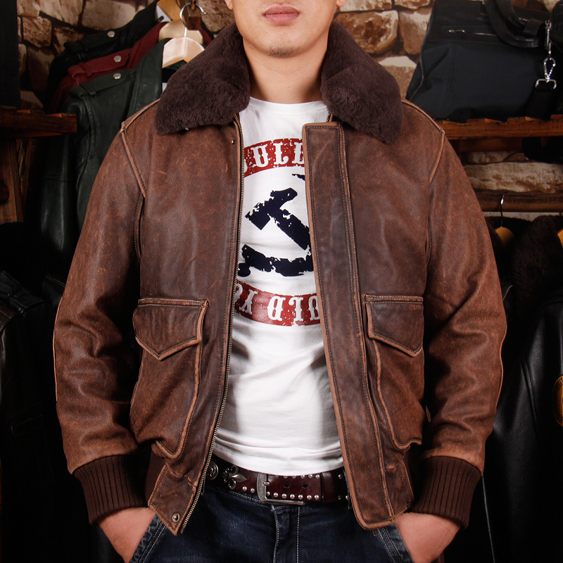 HTB1TQKqcK38SeJjSZFPq6A vFXaY 2019 Vintage Brown Men A2 Pilot Leather Jacket Wool Collar Size XXL Genuine Thick Cowhide Russian Aviator Coat FREE SHIPPING