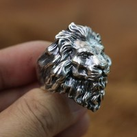 King of Lion Ring Huge 925 Sterling Silver Mens Biker Punk Ring TA128 US Size 8~15