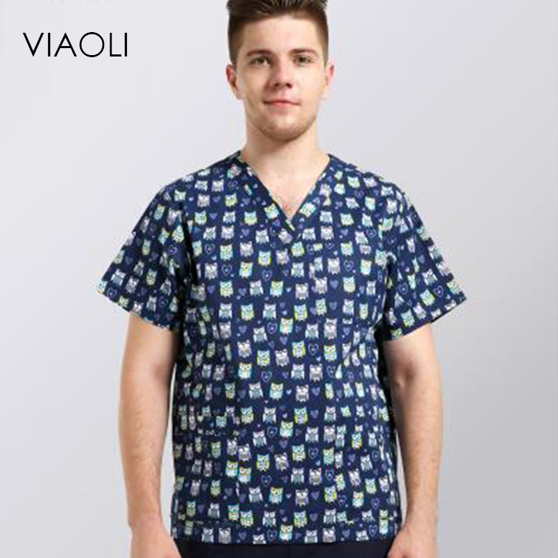 Viaoli Wash clothes summer new nurse uniform beauty carewoman working uniform short sleeve V-neck printing Surgical clothing