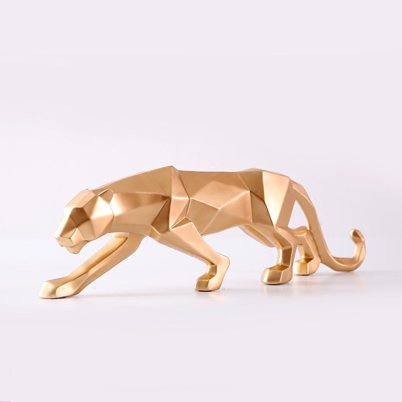 Nordic Modern Geometric Resin Golden Cheetah Ornaments Creative - Huisdecoratie