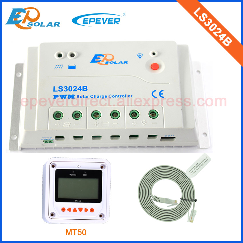 30A 24V controller for solar panel system use EPEVER PWM solar regulator LS3024B With MT50 remote meter 30amps epsolar solar regulator 30a 12v 24v with remote meter mt50 solar charge controller 50v ls3024b