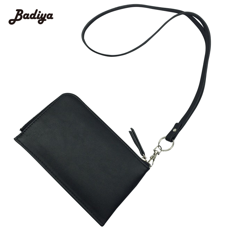 Fashion Card Holder Hanging Neck Purse For Woman 2017 Korean Style Soft PU Leather Zipper Women Wallet Wrist Strap Phone Pocket sports protective pu leather case w card holder slot neck strap for iphone 5 5s deep pink