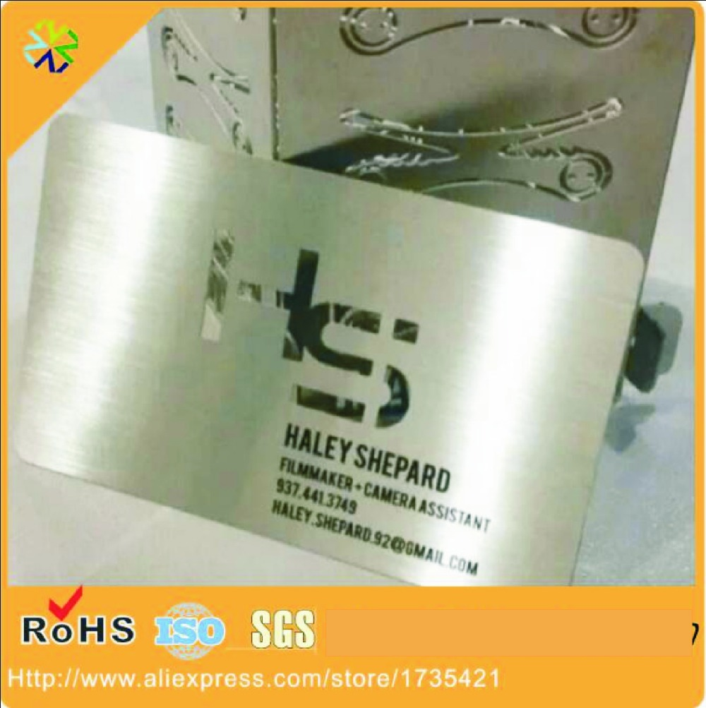 Factory Price Engraved Etching Steel Brushed Metal Card/metal Business Name Cards With Both Side Brushed Effect