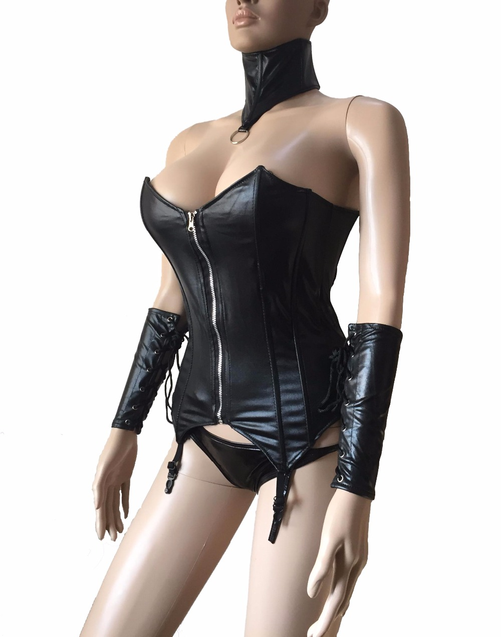 Female Black Leather Front Zip Over Bust   Bustier     Corset   ,Neck Collar and Gloves Gothic Punk Adult Womens Fetish Wear Costume