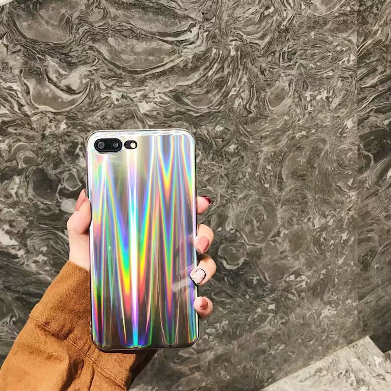 Bling Laser Melting Rainbow Phone Cases For iPhone 5s 6 6s 6Plus X 7 8 Plus Holographic Back Cover for Samsung S9 S8 Plus Case