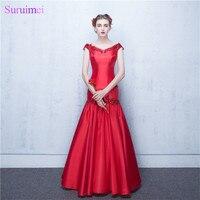 Bridesmaid Dresses Abiti Da Sera Lunghi V Neck Red Satin Mermaid Long Brides Maid Dress Maid