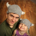 Handmade Parent-Child Winter Hat Knited Pirate Small Cow Horn Woolen Beanie Caps Men And Women Cute Hat