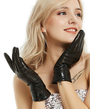 women top full real Italy leather fashion elegant gloves in black
