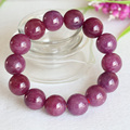 Free Shipping Wholesale Natural Genuine Pink Red Ruby Bracelet Smooth Round beads Finished Stretch Bracelets Big Beads12mm 04376