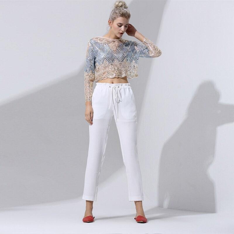 Voir Manches Conception Travers à Couleurs Paillettes 2017 Maille O 2 Femmes Style Ciel La Mode Sexy pu Tissu Longues De Bleu Nouveau Cou Broderie Blouse wYxqzaI
