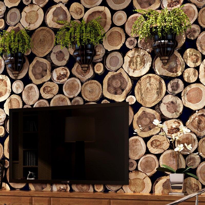 Beibehang 3D bois rondin Texture en relief PVC étanche papier peint rouleau salon bureau papier peint Mural papier peint papier De Parede