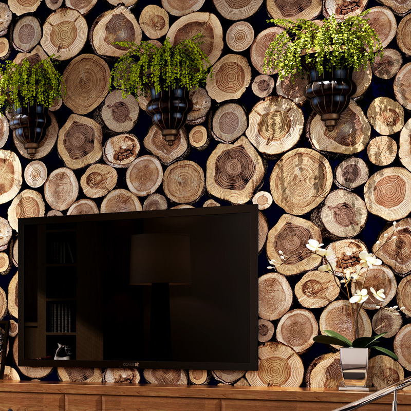 beibehang 3D Wood Log Texture Embossed PVC Waterproof Wall Paper Roll Living Room Desktop Wallpaper Mural Papel De Paredebeibehang 3D Wood Log Texture Embossed PVC Waterproof Wall Paper Roll Living Room Desktop Wallpaper Mural Papel De Parede