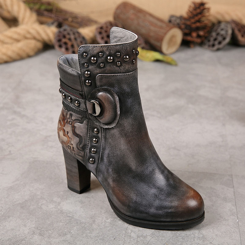 Autumn and winter new Martin boots leather boots women's fashion casual high-heeled boots 10pcs solder iron tips for hakko soldering rework station