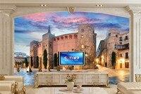 Large 3d Wallpaper Spain Temples Houses Sky Street Lights City Wallpaper Living Room Sofa Tv Wall