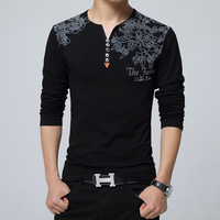 2016 Autumn Fashion Floral Print Men T Shirt Henry Collar Button Decorate Long Sleeve T Shirt