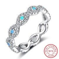 Infinity Bleu Opale 925 Sterling Argent Éternité Anneaux Pour Femmes Endless Love De Mariage Bijoux Cadeaux Pour Son (RI102886)