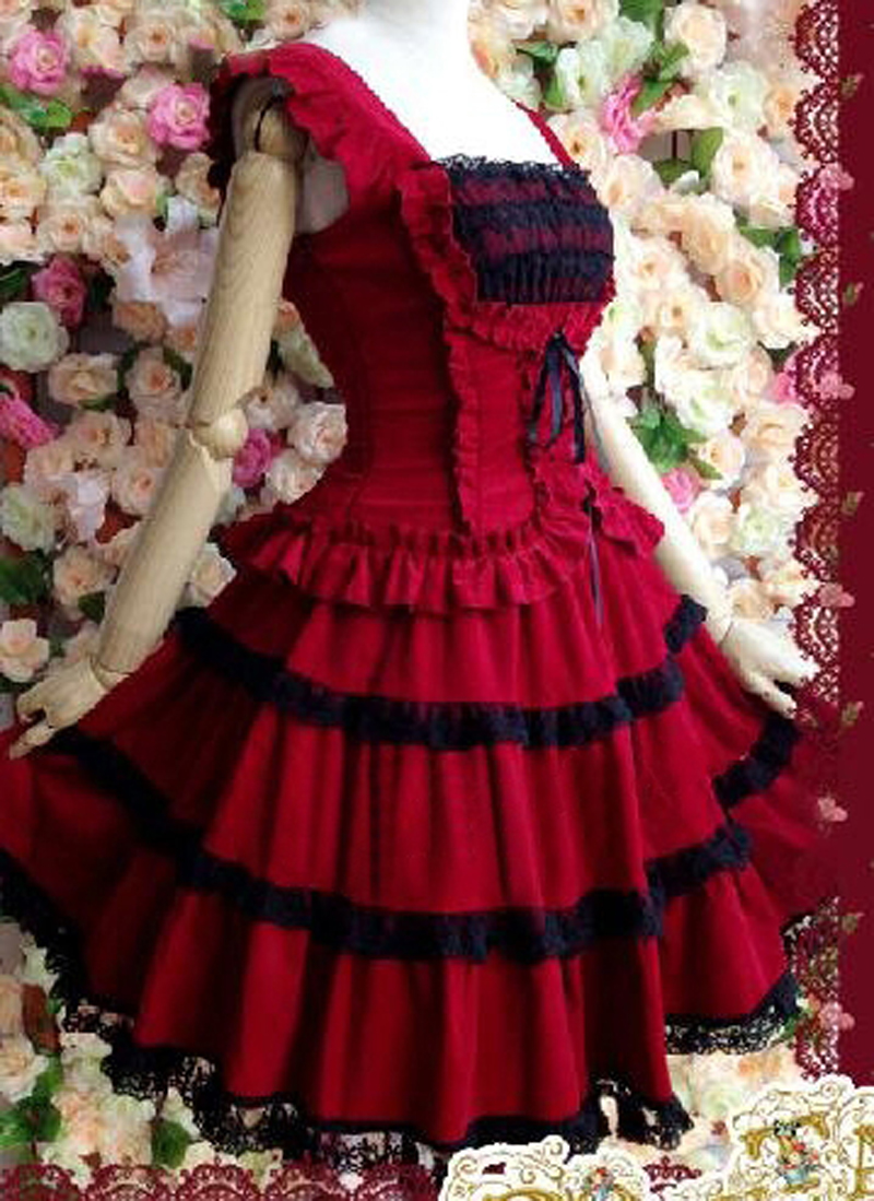 Lolita robe rouge lolita robe princesse avec dentelle vintage fronde robe duveteuse - 3