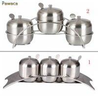 New 7pcs/set Kitchen Supplies Apple Shape Stainless Steel Condiment Pot Spice Container Salt Sugar Bowl Serving Jars Pot Spoons