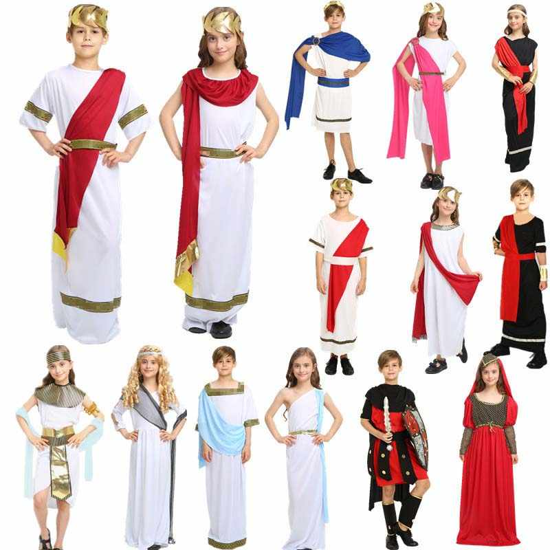 Child Boy Girls Rome Greece Prince Princess Cosplay Role Play Egypt  Performance Party Dress halloween costume for kids Christmas