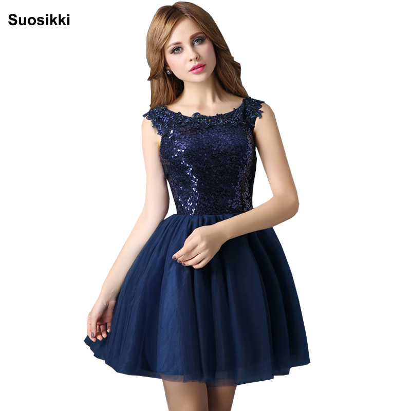 Blue Sequin Cocktail Dress Elegant Prom Party Dresses short Robe Cocktail Mi Longue Cocktail Dress formal  party gown