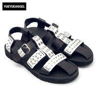 Fashion Gladiator Sandals Men Summer Punk Rivet Hollow Out Platform Shoes Sandals Casual Top Quality Leather Sandalias Hombre