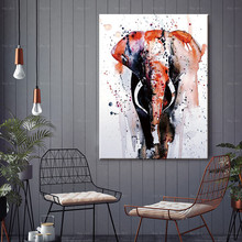 HD Canvas Print Wall Art Animal Painting Elephant Picture for Living Room Watercolor Style Prints