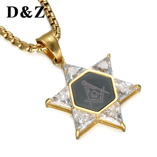 Dz trendy gold color freemason masonic pendants stainless steel dz trendy gold color freemason masonic pendants stainless steel crystal star of david free masonic necklaces aloadofball Gallery
