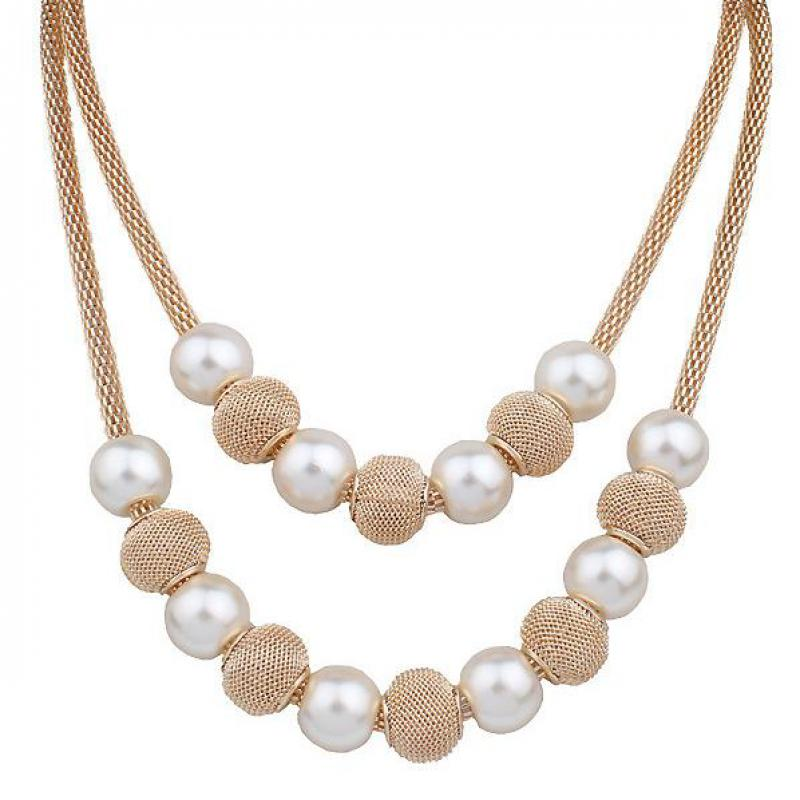 Pearl necklace collier femme collares statement Multilayer choker statement jewelry women Simulated Pearl necklaces & pendants