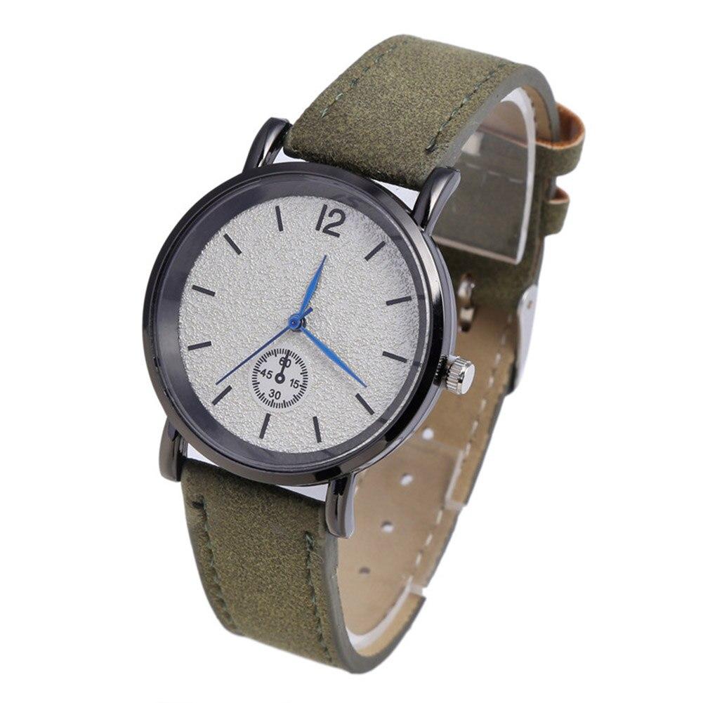 Simple Faux Leather Strap Men Women Round Case Quartz Analog Wrist Watch Gift