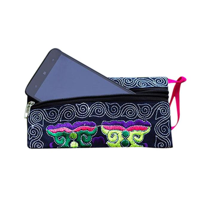Wristlet Clutch Wallets Vintage Purse Handmade Embroidered Small Fashion Ethnic Wild