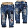 3777 pantalones vaqueros del muchacho del bebé azul marino pantalones del otoño del resorte del bebé de los niños pantalones vaqueros del bebé niños de la manera ocasional