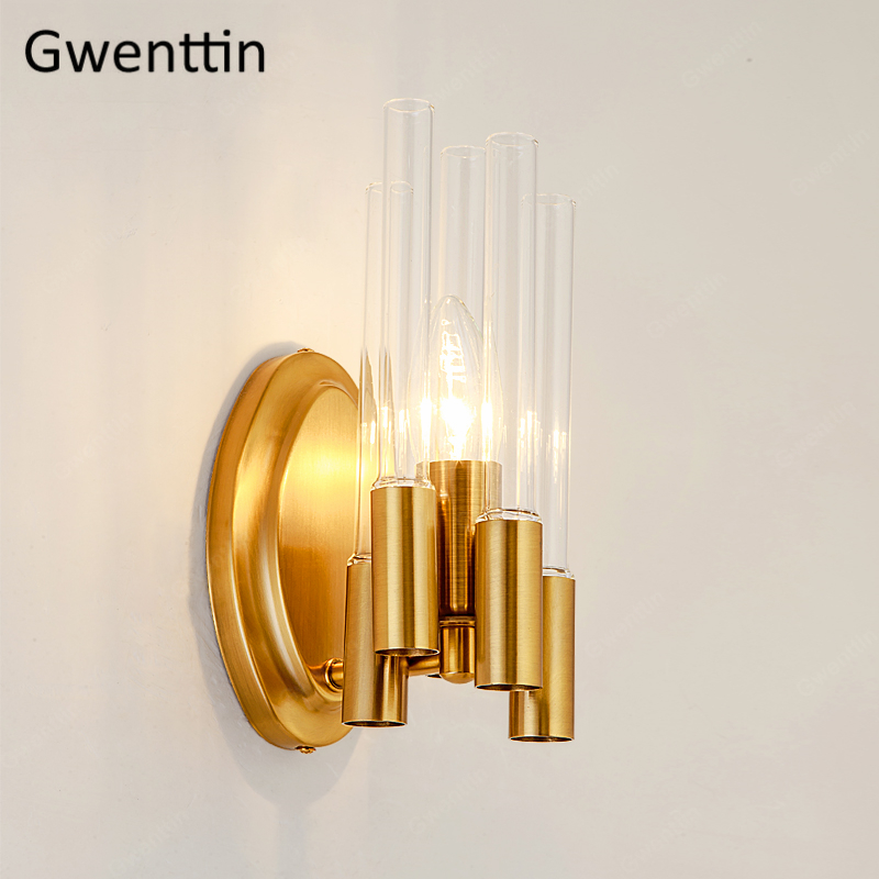 Modern Luxury Gold Wall Lamp for Living Room Nordic Glass Sconce Mirror Lights for Bathroom Bedroom Home Led Wall Light FixturesModern Luxury Gold Wall Lamp for Living Room Nordic Glass Sconce Mirror Lights for Bathroom Bedroom Home Led Wall Light Fixtures