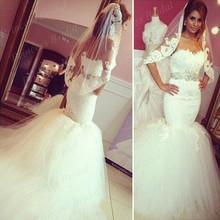 Free Shipping New Model Custom Made Fishtail Sweetheart Top Lace Sweep Train Mermaid Tulle Wedding Dresses MF383